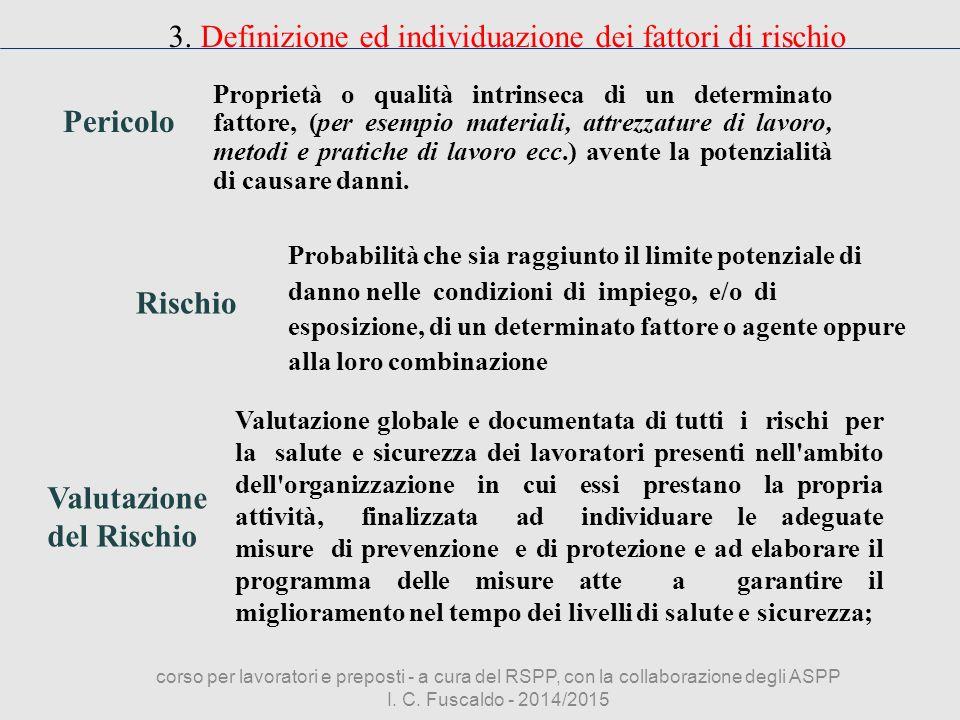 3. Definizione ed individuazione dei fattori di rischio