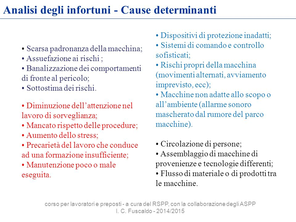 Analisi degli infortuni - Cause determinanti