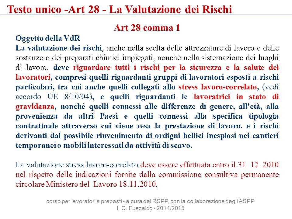 Testo unico -Art 28 - La Valutazione dei Rischi