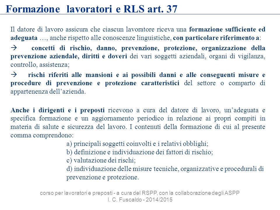 Formazione lavoratori e RLS art. 37