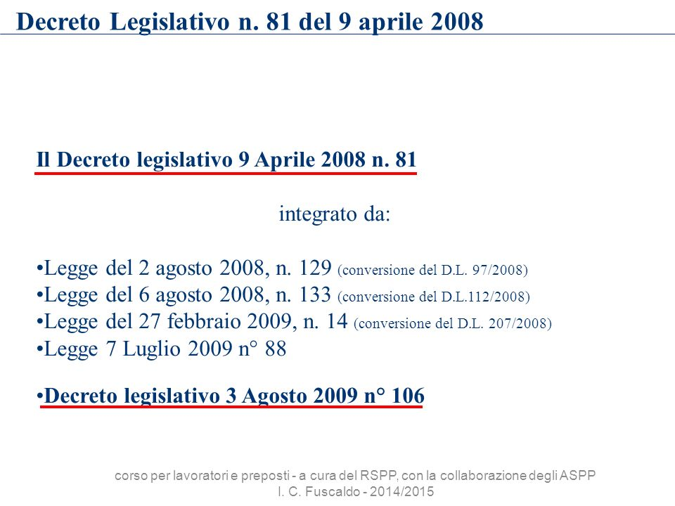 Decreto Legislativo n. 81 del 9 aprile 2008