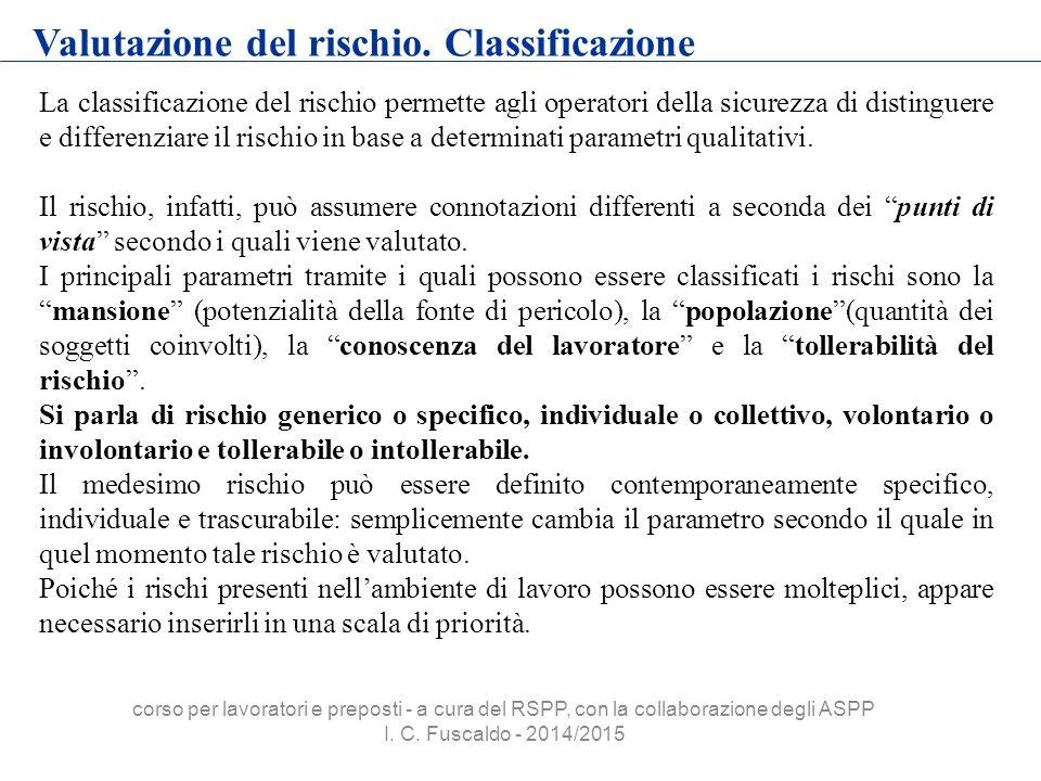 Valutazione del rischio. Classificazione