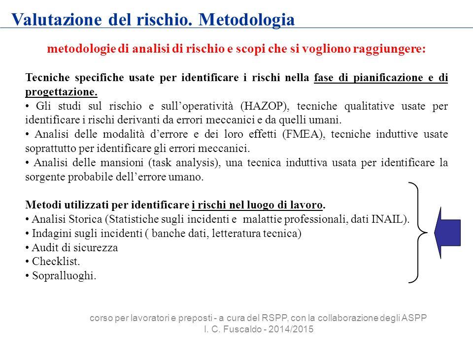 metodologie di analisi di rischio e scopi che si vogliono raggiungere: