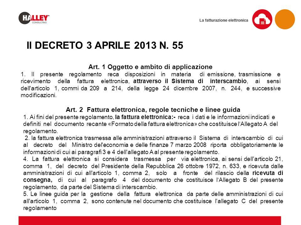 Il DECRETO 3 APRILE 2013 N. 55 Art. 1 Oggetto e ambito di applicazione