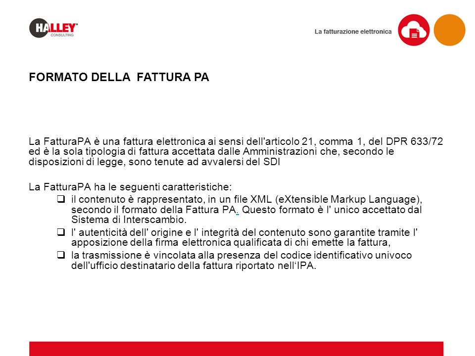 FORMATO DELLA FATTURA PA