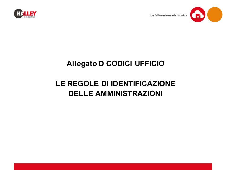 Allegato D CODICI UFFICIO LE REGOLE DI IDENTIFICAZIONE