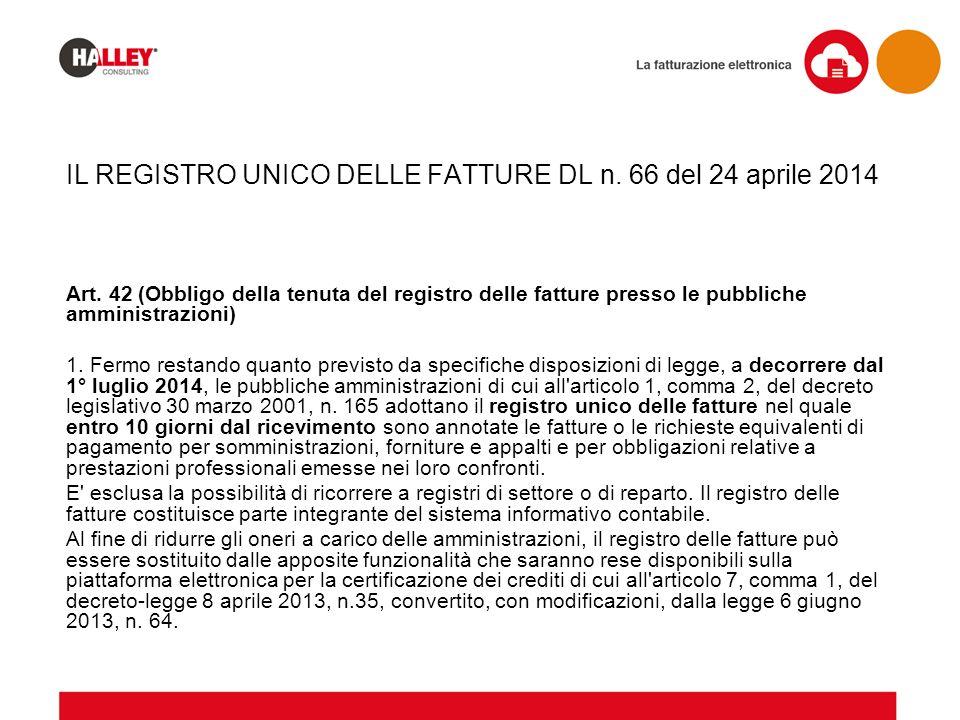 IL REGISTRO UNICO DELLE FATTURE DL n. 66 del 24 aprile 2014