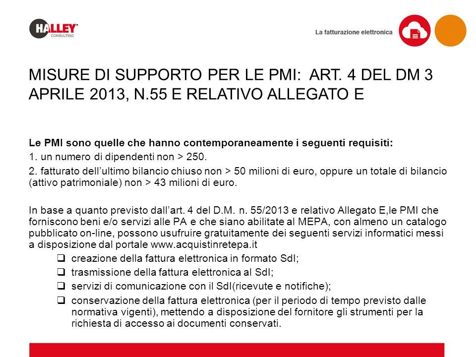 MISURE DI SUPPORTO PER LE PMI: ART. 4 DEL DM 3 APRILE 2013, N