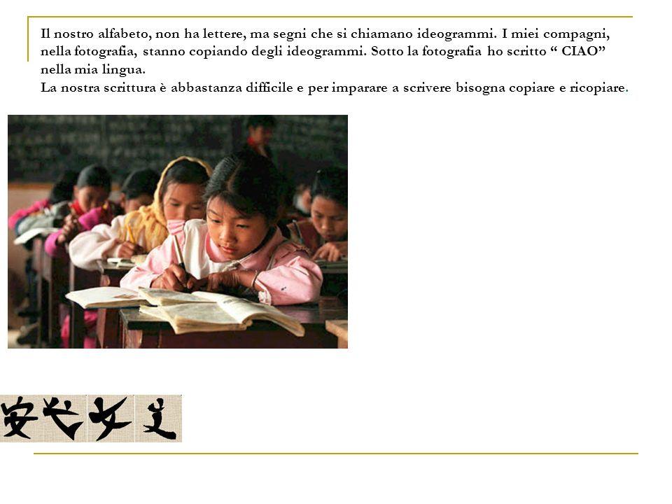 Il nostro alfabeto, non ha lettere, ma segni che si chiamano ideogrammi.