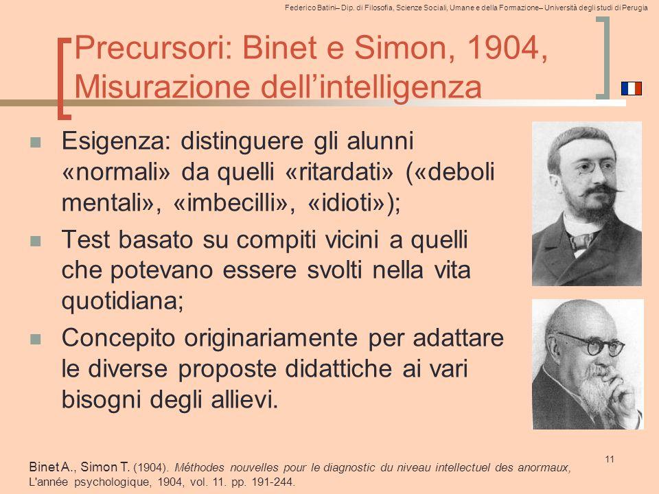 Precursori: Binet e Simon, 1904, Misurazione dell'intelligenza