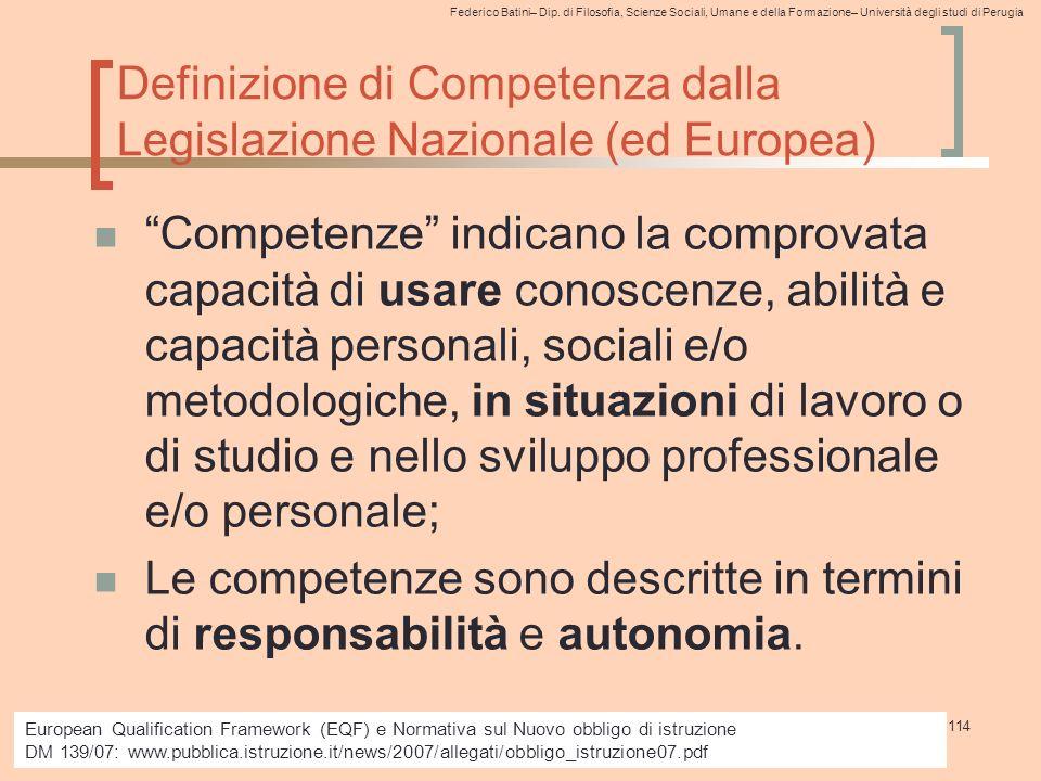 Definizione di Competenza dalla Legislazione Nazionale (ed Europea)