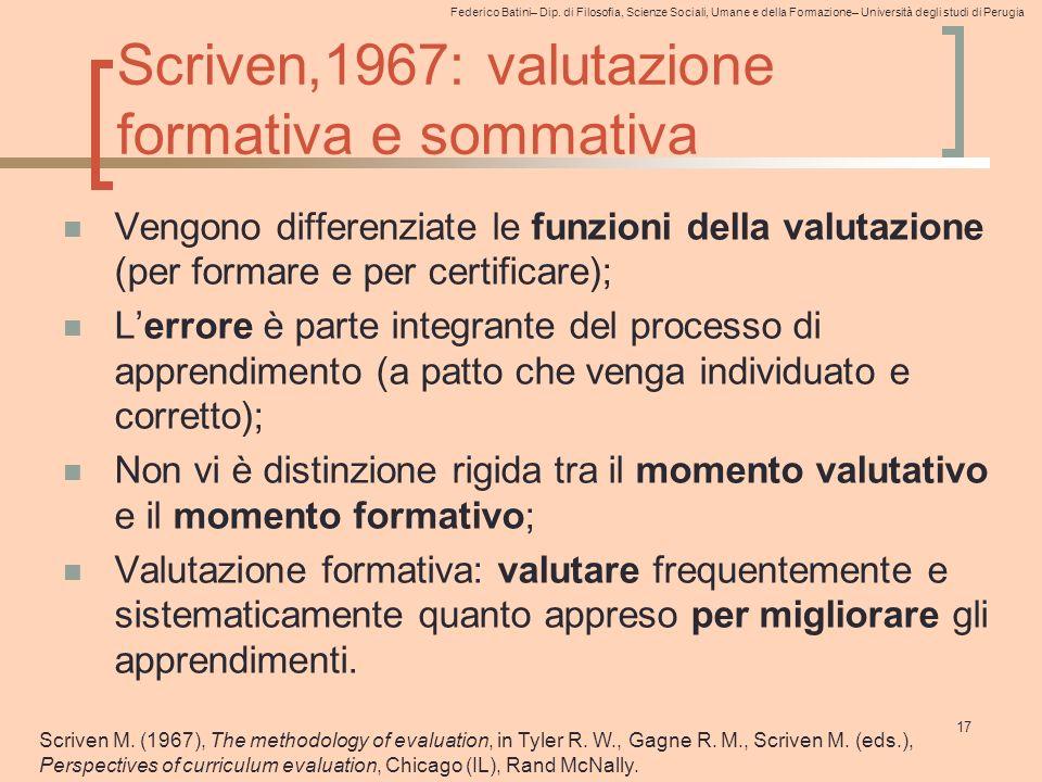 Scriven,1967: valutazione formativa e sommativa