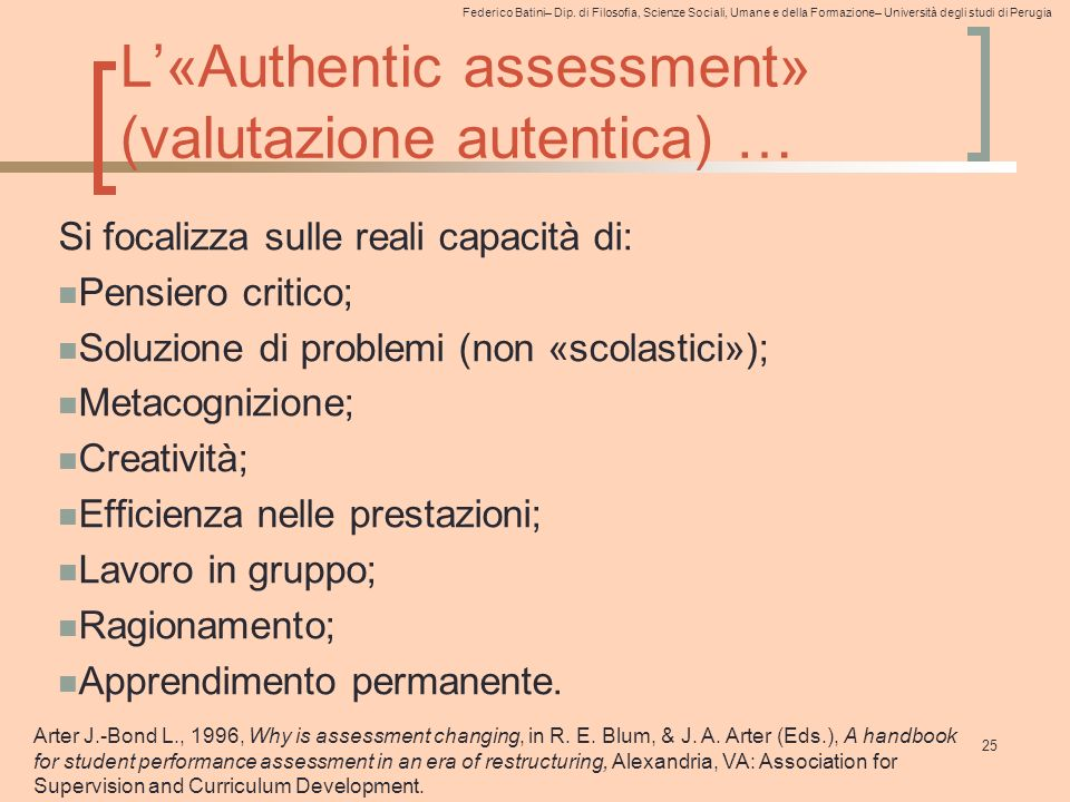 L'«Authentic assessment» (valutazione autentica) …
