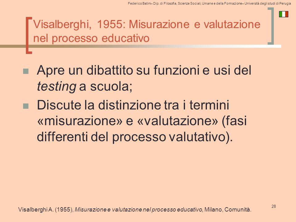 Visalberghi, 1955: Misurazione e valutazione nel processo educativo