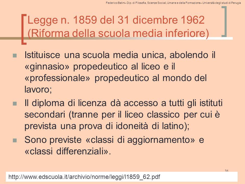 Legge n. 1859 del 31 dicembre 1962 (Riforma della scuola media inferiore)