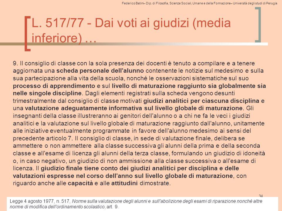 L. 517/77 - Dai voti ai giudizi (media inferiore) …