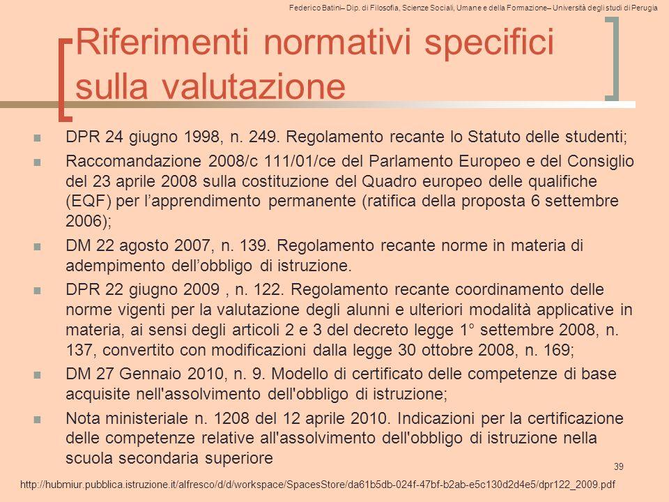 Riferimenti normativi specifici sulla valutazione