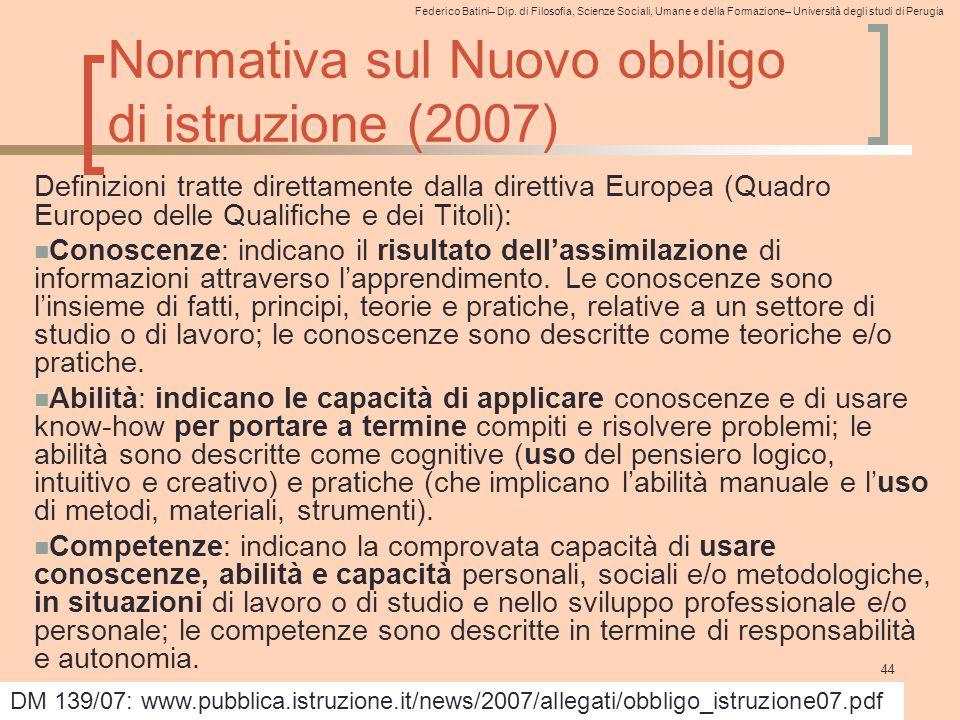 Normativa sul Nuovo obbligo di istruzione (2007)