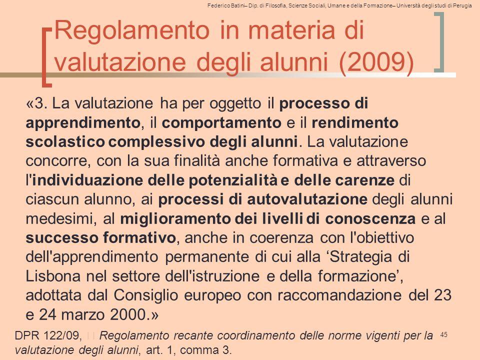 Regolamento in materia di valutazione degli alunni (2009)