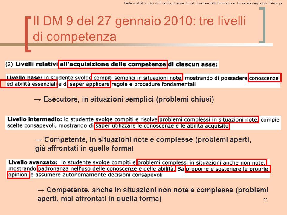 Il DM 9 del 27 gennaio 2010: tre livelli di competenza
