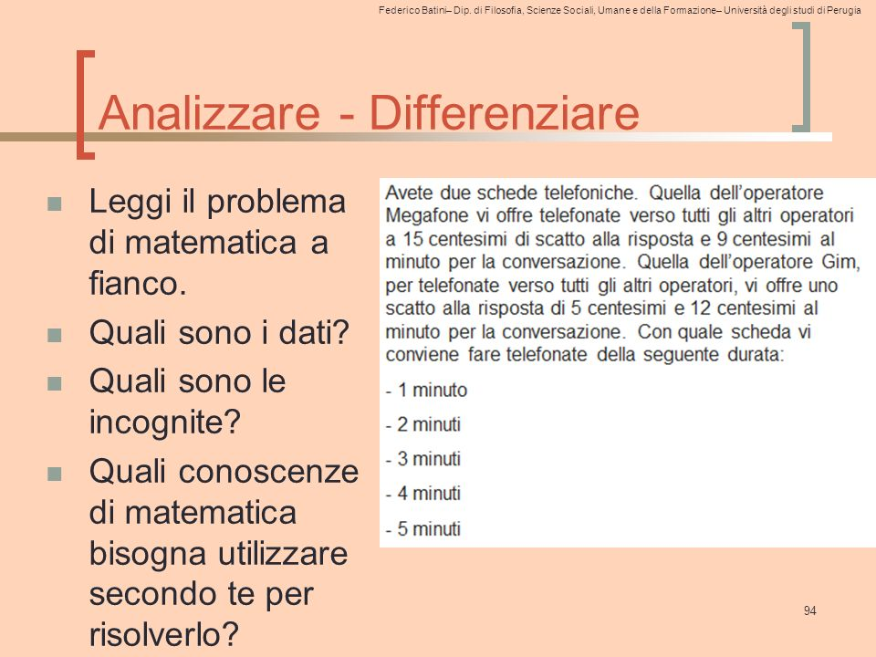 Analizzare - Differenziare