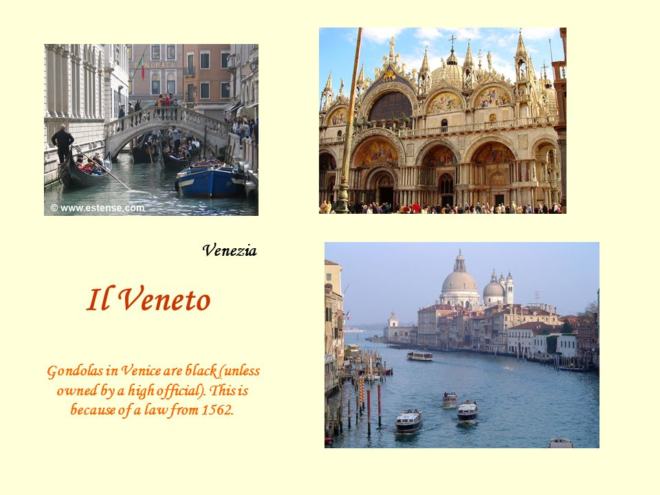Venezia Il Veneto. Gondolas in Venice are black (unless owned by a high official).