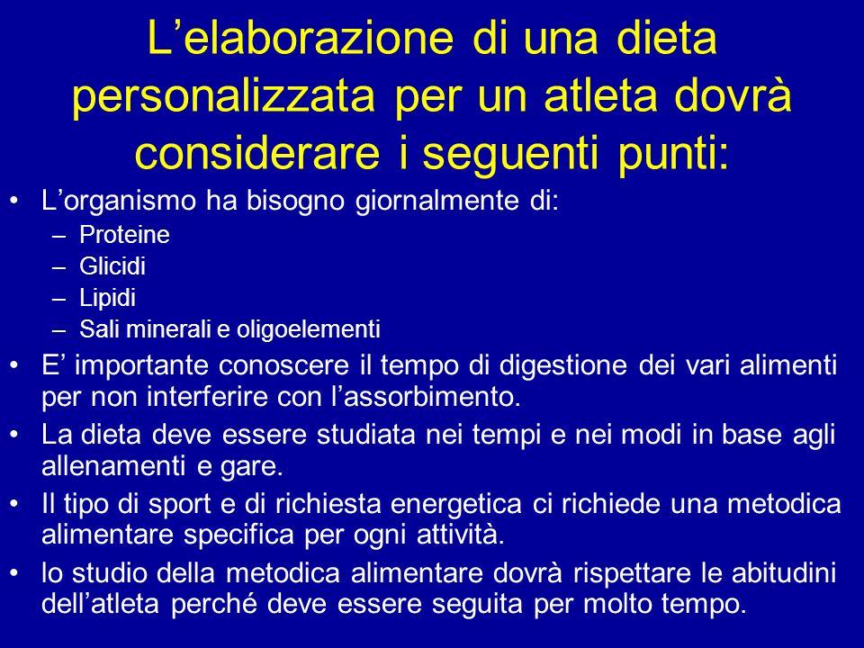L'elaborazione di una dieta personalizzata per un atleta dovrà considerare i seguenti punti: