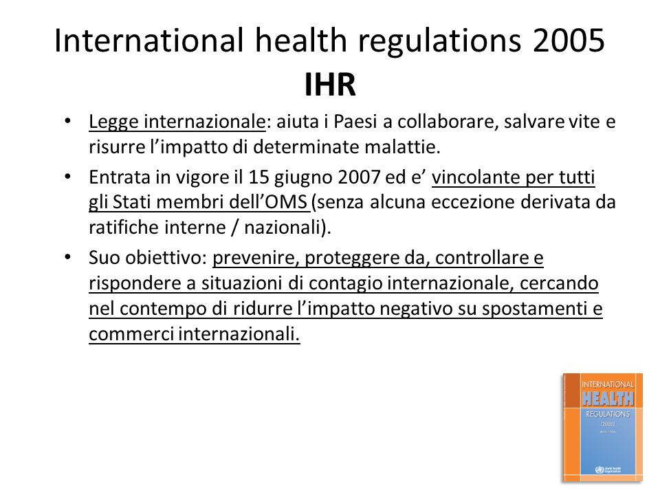 International health regulations 2005 IHR
