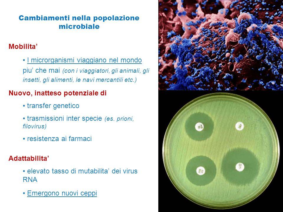 Cambiamenti nella popolazione microbiale
