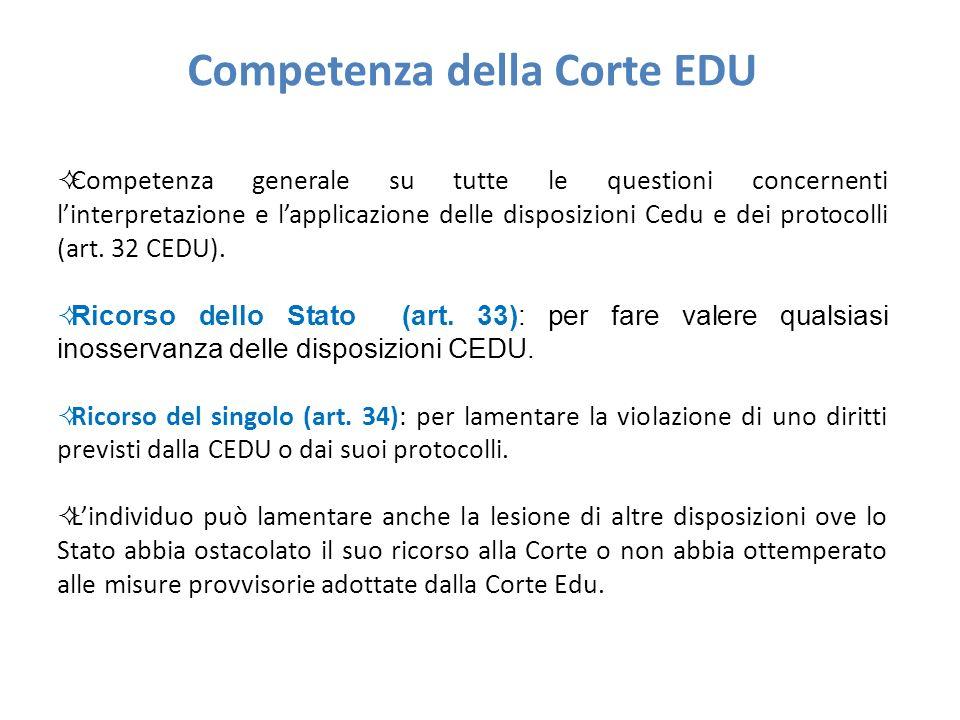 Competenza della Corte EDU