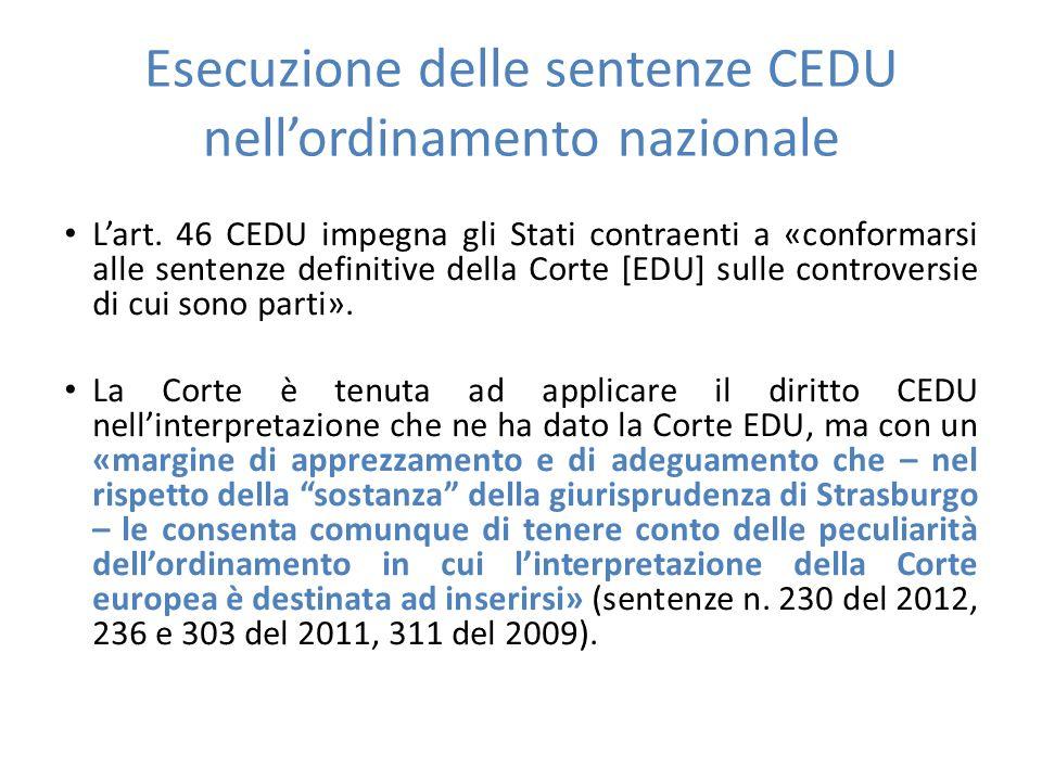 Esecuzione delle sentenze CEDU nell'ordinamento nazionale