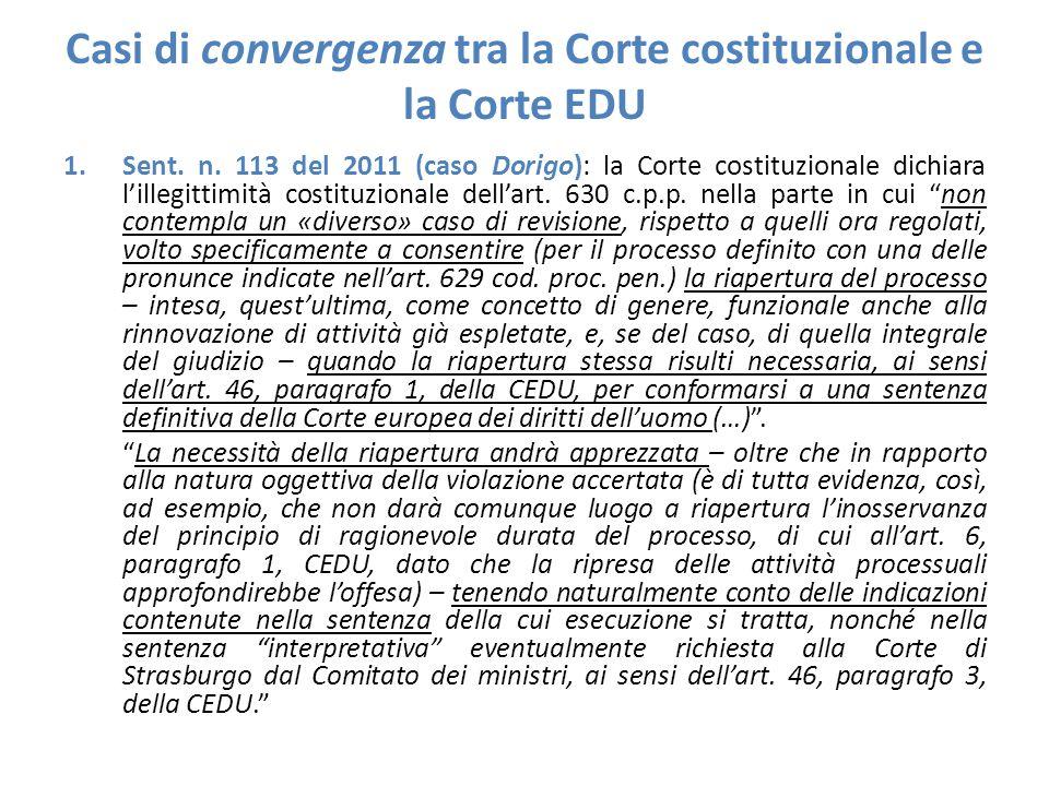 Casi di convergenza tra la Corte costituzionale e la Corte EDU