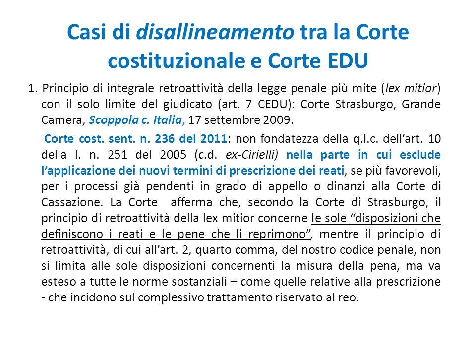Casi di disallineamento tra la Corte costituzionale e Corte EDU