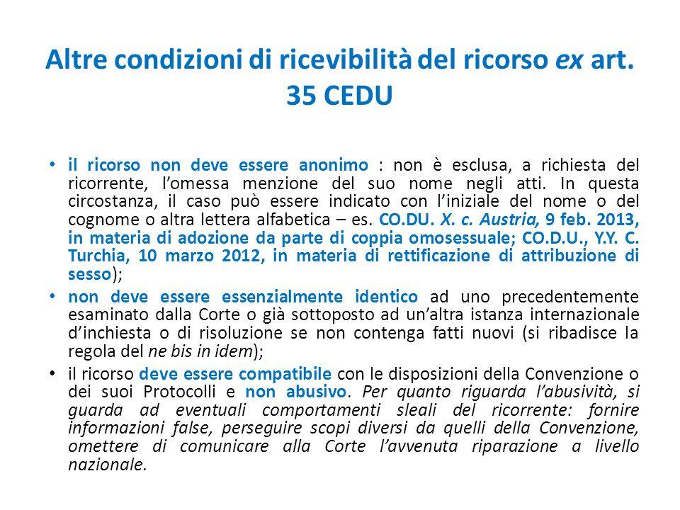 Altre condizioni di ricevibilità del ricorso ex art. 35 CEDU