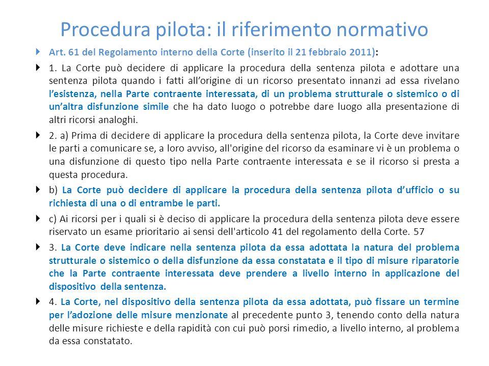 Procedura pilota: il riferimento normativo