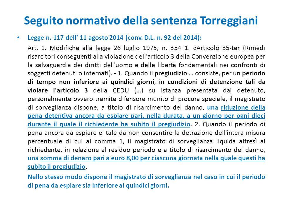 Seguito normativo della sentenza Torreggiani