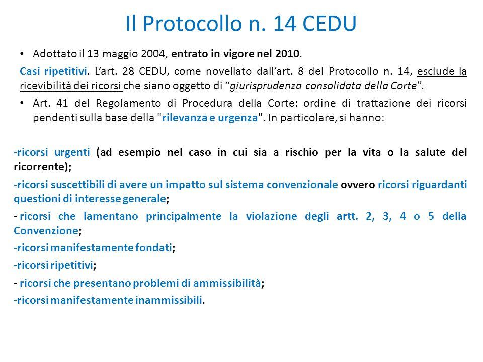 Il Protocollo n. 14 CEDU Adottato il 13 maggio 2004, entrato in vigore nel 2010.
