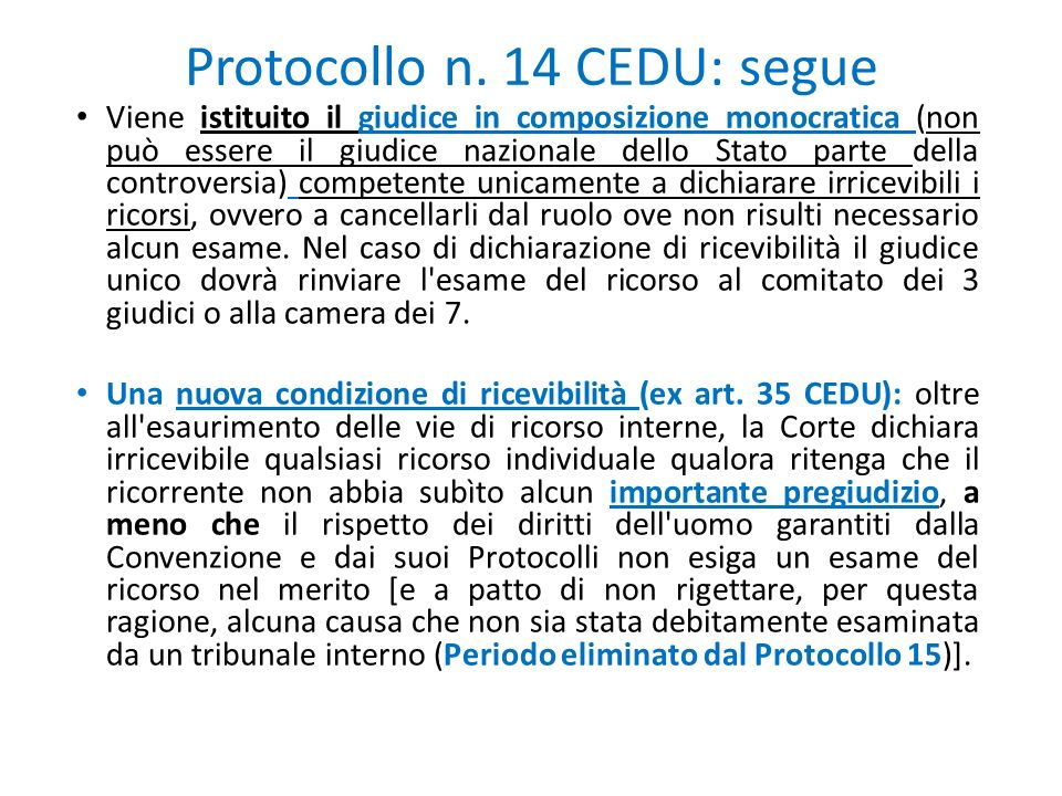 Protocollo n. 14 CEDU: segue