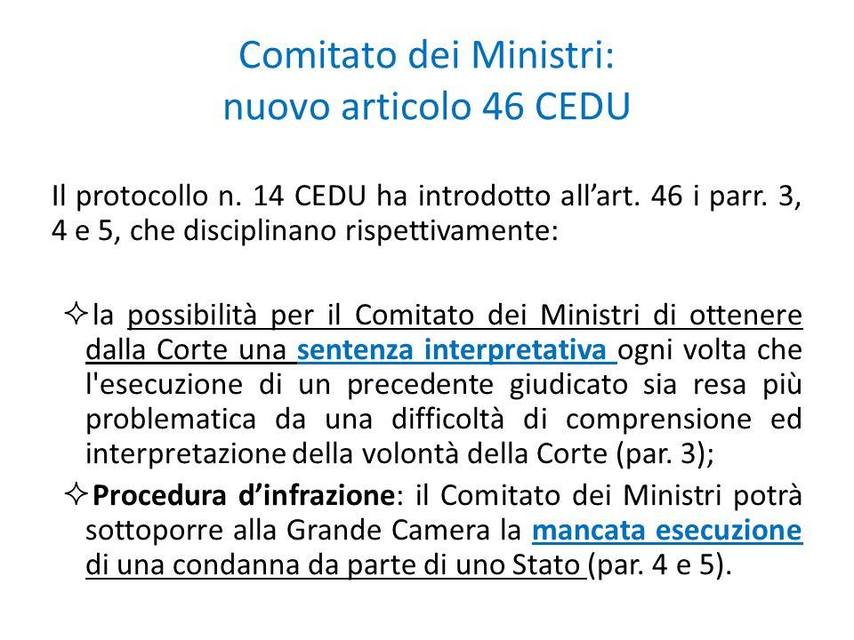 Comitato dei Ministri: nuovo articolo 46 CEDU
