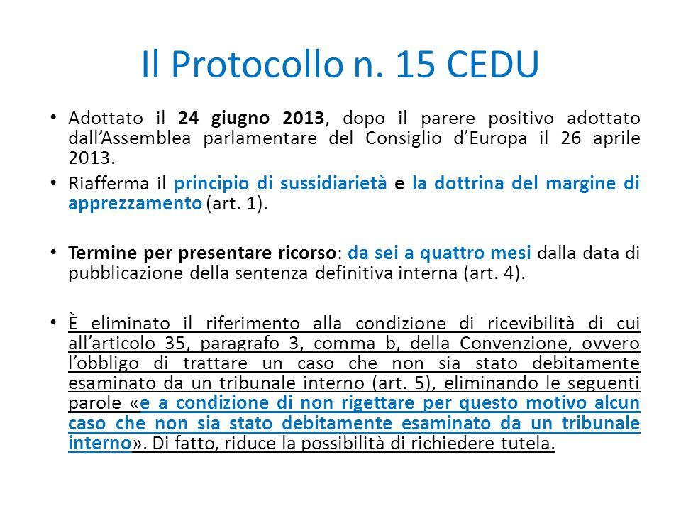 Il Protocollo n. 15 CEDU