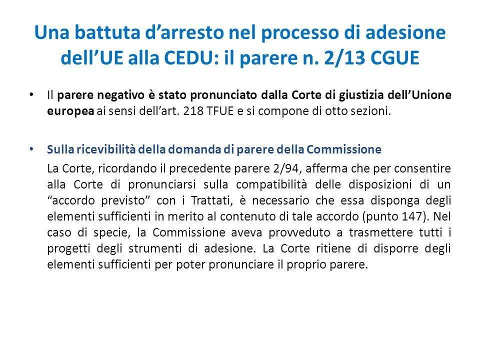 Una battuta d'arresto nel processo di adesione dell'UE alla CEDU: il parere n. 2/13 CGUE