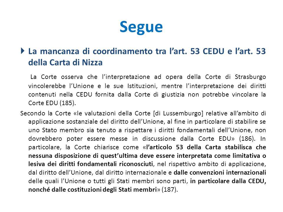 Segue La mancanza di coordinamento tra l'art. 53 CEDU e l'art. 53 della Carta di Nizza.