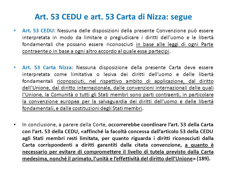 Art. 53 CEDU e art. 53 Carta di Nizza: segue