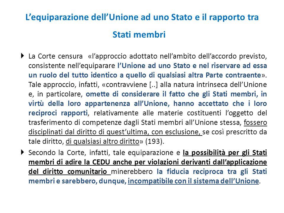 L'equiparazione dell'Unione ad uno Stato e il rapporto tra Stati membri