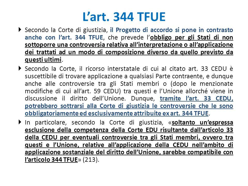 L'art. 344 TFUE
