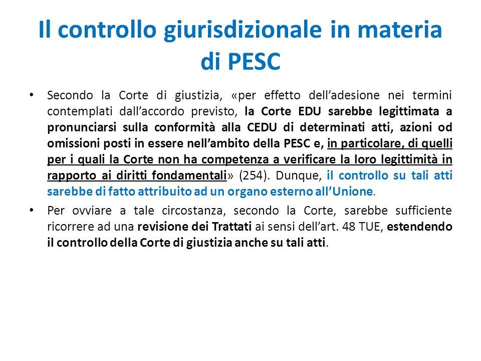 Il controllo giurisdizionale in materia di PESC