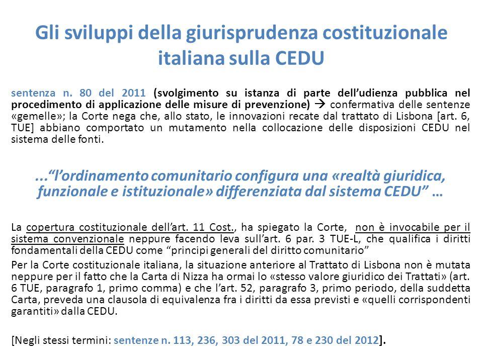 Gli sviluppi della giurisprudenza costituzionale italiana sulla CEDU
