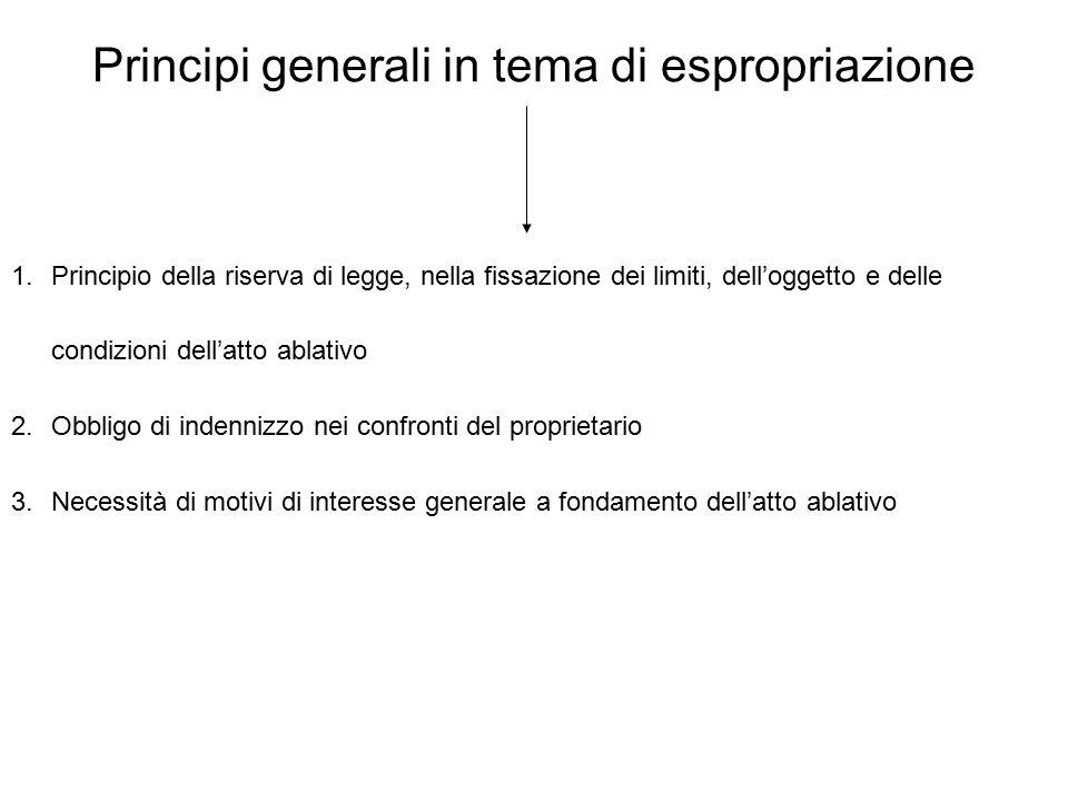 Principi generali in tema di espropriazione