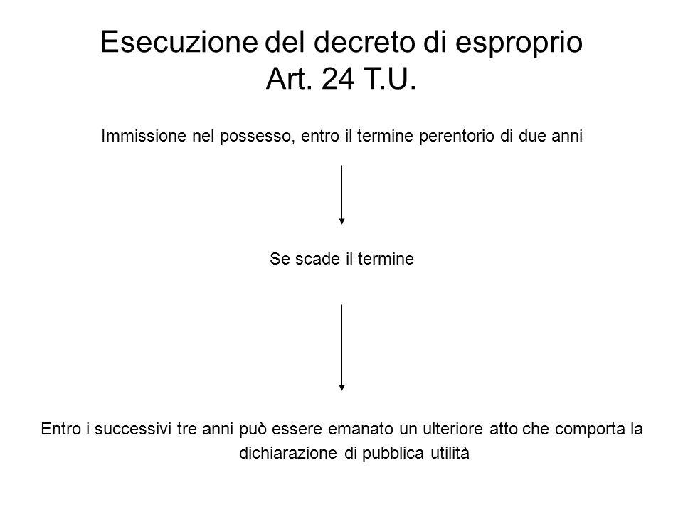 Esecuzione del decreto di esproprio Art. 24 T.U.