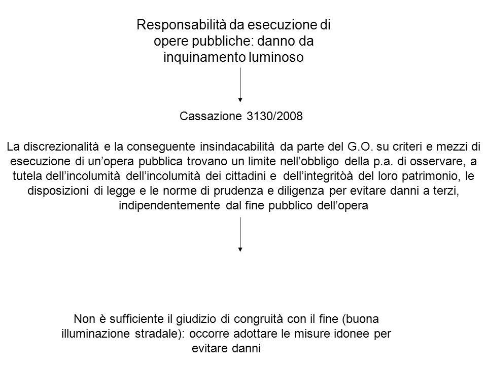 Responsabilità da esecuzione di opere pubbliche: danno da inquinamento luminoso